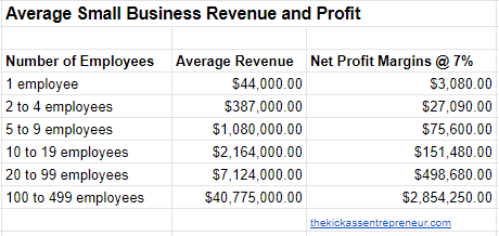 average small business revenue and profit