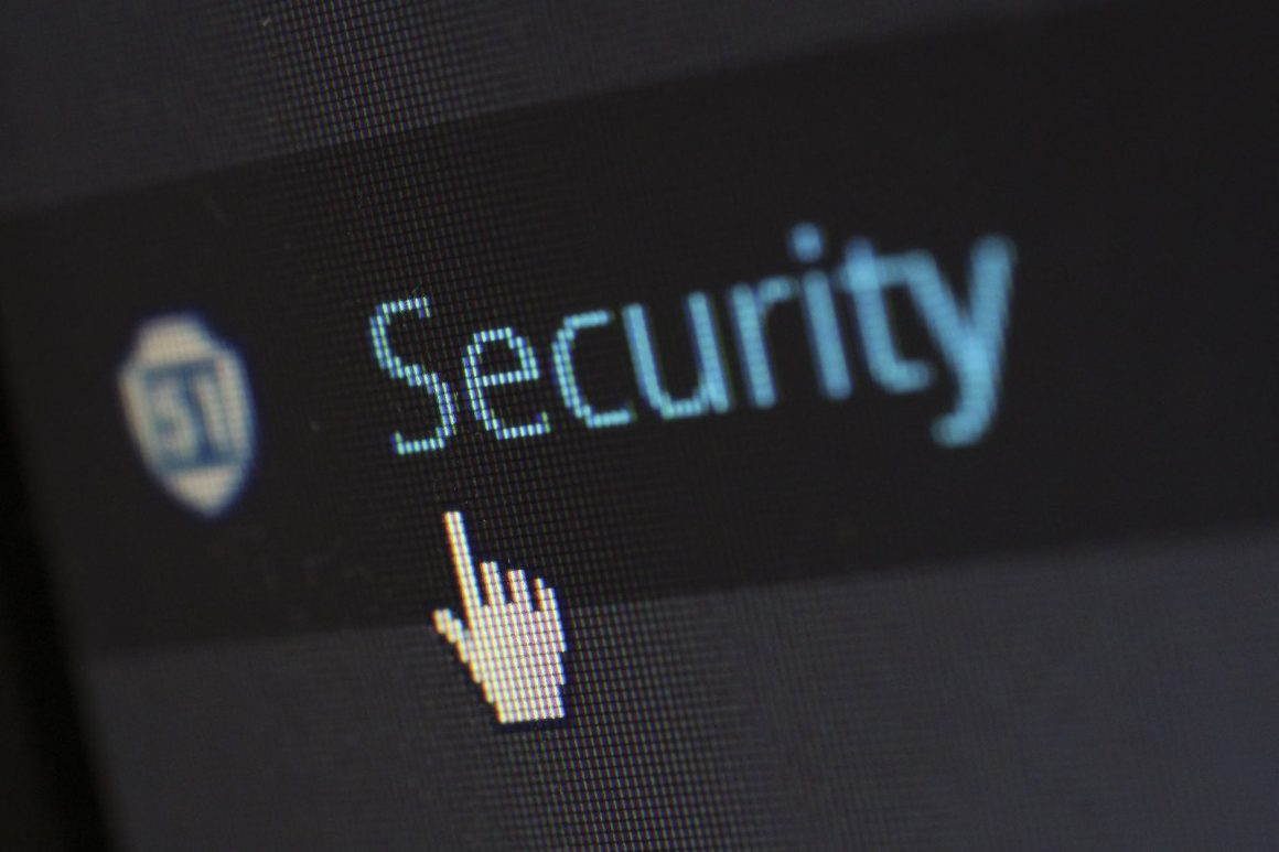 a cursor pointing to the word security