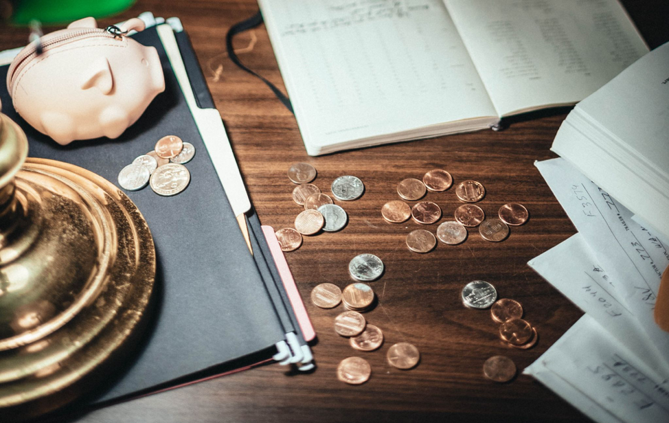coins on the office table
