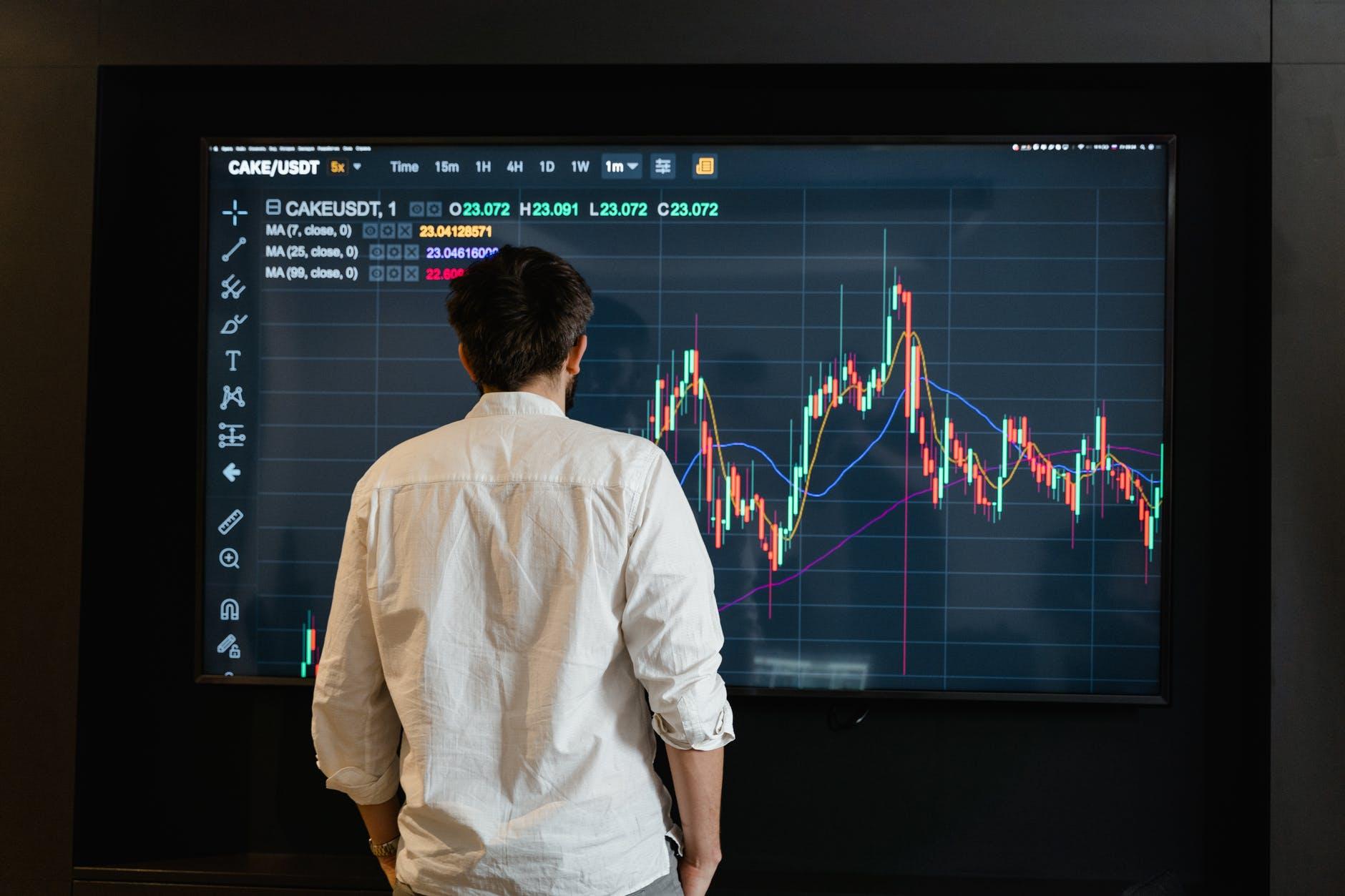 a man looking at a graph