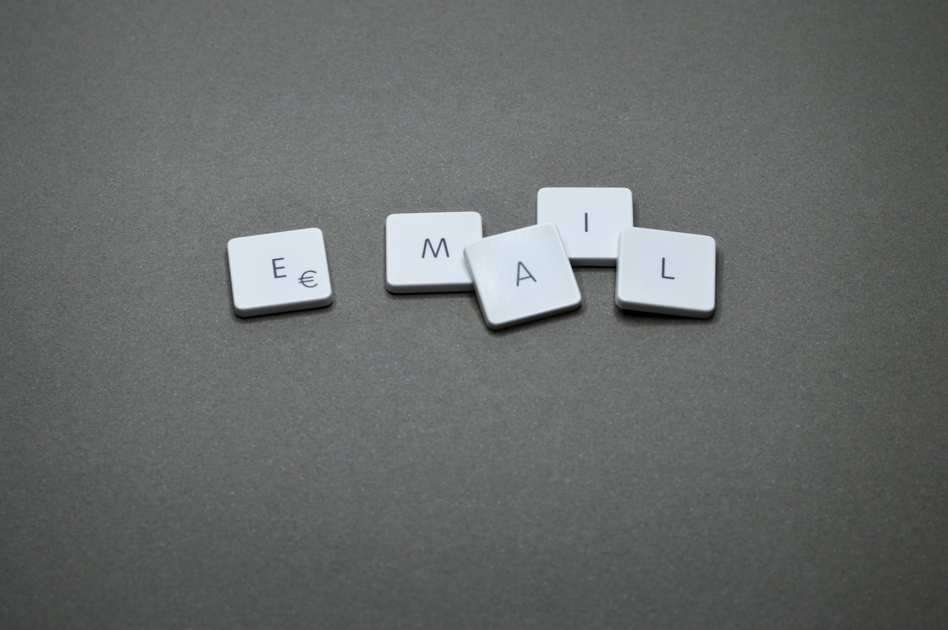 a word email from scrabble tiles